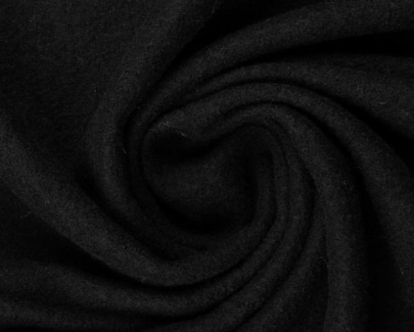 gekochte Wolle - Wollstoff - schwarz