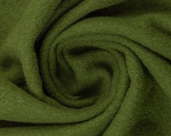 gekochte Wolle - Wollstoff - heugrün