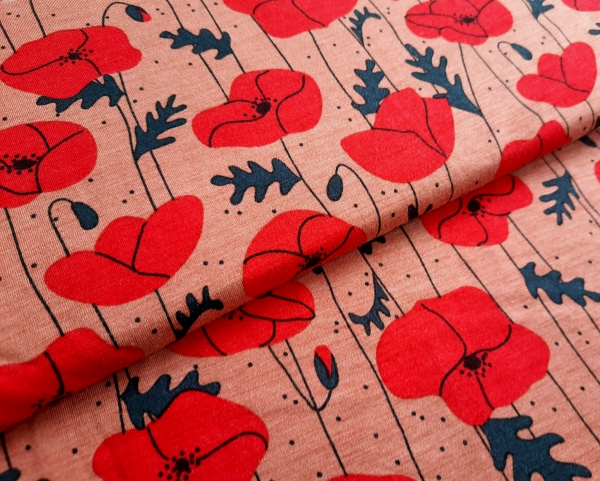 Lillestoff - Modal - Poppies - coral