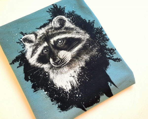 Panel - Sommersweat - angerauht - Wild Forest - Racoon