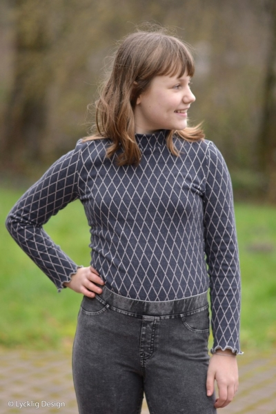 Jacquard Jersey - Cozy Collection - by Lycklig - Raute dunkelblau