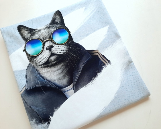 Panel - Sommersweat - French - Sporty Cat - by Torsten Berger