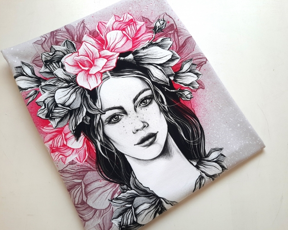 Panel - Sommersweat - French Terry - Miss Magnolia - by Torsten Berger - pink